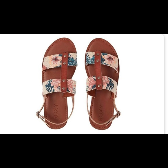 Beige Tropical Floral Heel Strap Sandal
